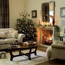 christmas decorations for living room beige fireplace double white