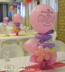 centerpieces with princess print at tlc cebu balloons and party