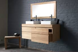 Teak Vanities Urban By Line Art Wall Mounted Double Vanity In Solid Teak