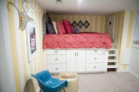 platform bed with storage made from kitchen cabinets diy