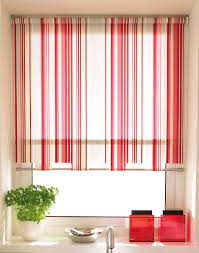 interior decorative roller blinds red pink stripes motif for