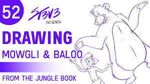 52 drawing mowgli and baloo from disney u0027s the jungle book