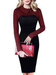 2017 autumn peter pan collar long sleeve houndstooth stitching