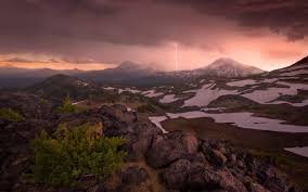 Landscape Nature Mountain Lightning Oregon Snow Sunset