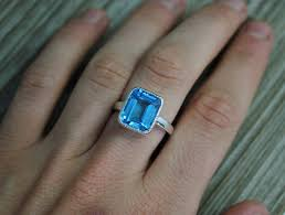 10mm ring octagon emerald cut blue topaz ring sterling silver bezel set