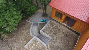 Octagon Patio Pavers by Boulder Retaining Wall With Patio And Paver Stair Case Oasis