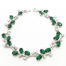 bracelet women silver images Tree leaf sterling silver chain bracelet women emerald greentopaz jpeg