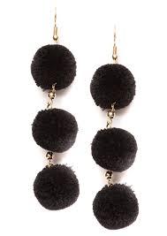 black dangle earrings black pom pom dangle earrings happiness boutique