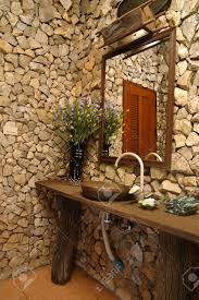 Bathroom With Stone Thai Style Bathroom With Stone Walls Stock Photo Picture And