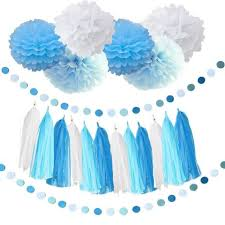 tissue paper decorations as the picture 20pcs baby blue white turquoise blue tissue paper pom