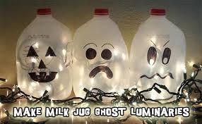Halloween Decorations Using Milk Jugs - recycled craft glowing ghosts from plastic milk jugs woo jr