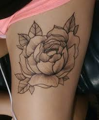 cool black and white peony flower on thigh tattoos photos