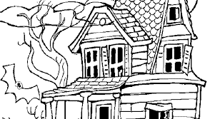 printable spooky house cartoon haunted house coloring page coloring home