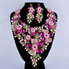flower necklace wedding images Fuchsia rhinestone golden plated flower statement necklace set jpg