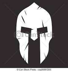 clipart vector of silhouette of spartan helmet with scratches from