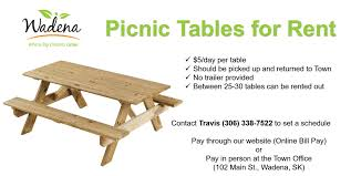 picnic table rentals picnic table rental wadena sk