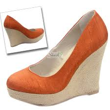 qupid resort 01 orange satin silk wedges high heel shoes