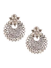 chandbali earrings online buy silver floral zircon chandbali earrings online at
