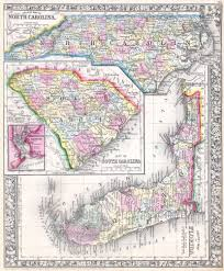 Map Of South Florida by File 1864 Mitchell Map Of North Carolina South Carolina And