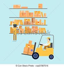 bureau poste 16 storage parcels facteurs ouvrier forklift vergé clipart