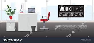 horizontal banner modern office interior coworking stock vector