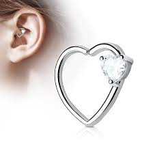 heart cartilage heart cz heart ear cartilage daith helix tragus rings