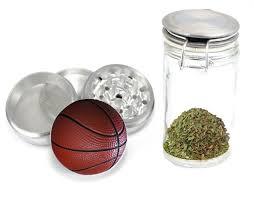 Coffee Grinder Marijuana Basketball Ball Uv Printdesign 4 Piece Aluminum Medicinal Herb