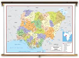 Africa Map With Capitals by Nigeria Political Educational Wall Map From Academia Maps