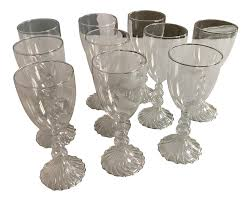 set of 10 hand blown two u0027s company legends wine glasses chairish