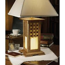 mission style table lamp arts and crafts woodworking plan from