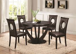 coaster 106741 106742 stapleton round cappuccino dining table set of 5
