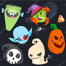 cute cartoon halloween characters icon set monster witch