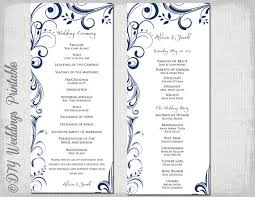 how to make your own wedding programs wedding program template navy blue instant by diyweddingsprintable