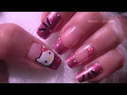 hello kitty acrylic nail design 3d purple glitter hello kitty video