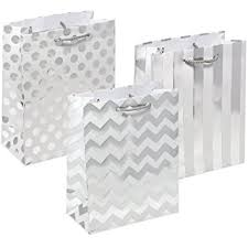metallic gift bags 12 metallic silver gift bags medium sized with rope