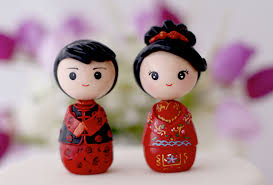 and groom figurines and groom wedding cake topper kokeshi figurines