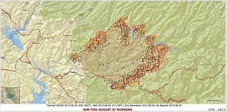 Wildfire Perimeter Map by Ca Stf Rim Fire Tuolumne County 187 466 Acres U0026 Is 23 Contained