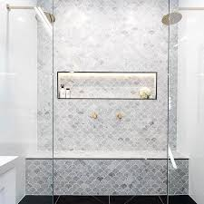 Marble Tile Bathroom Floor We Know How Much Y U0027all Love A Fish Scale Fan Tile So This One U0027s