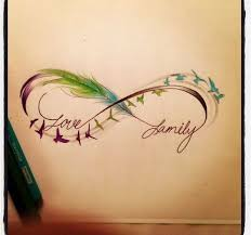 infinity sign feathers birds family stuff