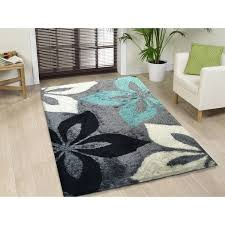 hand tufted turquoise and grey shag area rug 5 u0027 x 7 u0027 5 u0027 x 7