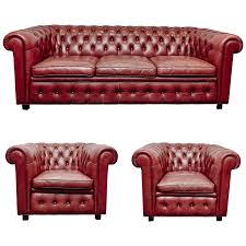 Chesterfield Sofa Leather by Leather Chesterfield Sofa And Pair Of Armchairs By Arne Norell At