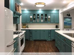 Do Kitchen Cabinets Go In Before Flooring My Finished For Now Kitchen From Kelly Green To Teal Before U0026 After