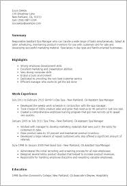 Resume Examples For Hospitality by Professional Assistant Spa Manager Templates To Showcase Your