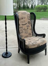 How To Reupholster A Wingback Armchair Easy No Sew Vintage Chair Re Upholstery Tutorial Amy Cavaness