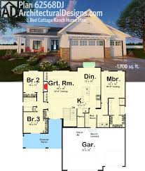 plan 62568dj 3 bed cottage ranch home plan cottage house front