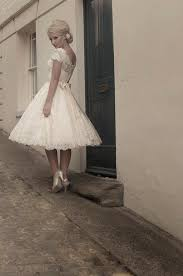 short tea length full lace wedding dress with cap sleeves and belt