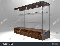 Glass Shelves Cabinet Empty Rectangular Glass Display Cabinet Wooden Stock Illustration