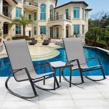 sundale outdoor 3pcs bistro set rocking lounger patio garden pool