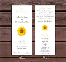 sunflower wedding programs 100 sunflower wedding programs price by creatingapapermemory