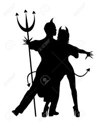 halloween silhouette of devil couple dancing stock photo picture